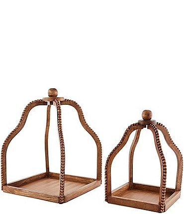 Image of Mud Pie Welcome Collection Natural Wood Beaded Lantern, 2-Piece Set