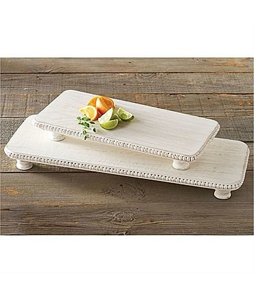 Image of Mud Pie White Washed Beaded Serving Board Set