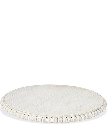 Image of Mud Pie White Wood Beaded Lazy Susan