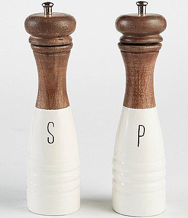Image of Mud Pie Wood & Enamel Salt & Pepper Mills