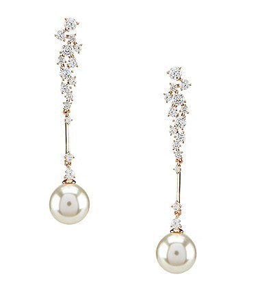 Image of Nadri Mare Pavé Pearl Linear Statement Earrings