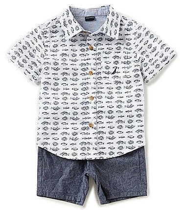 Image of Nautica Baby Boys 12-24 Months Fish-Print Button-Down Shirt & Solid Shorts Set