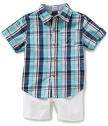Image of Nautica Baby Boys 12-24 Months Short-Sleeve Plaid Woven Shirt & Solid Twill Shorts