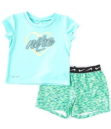 Image of Nike Baby Girls 12-24 Months Short-Sleeve Heart Graphic Tee & Space-Dye Shorts Set