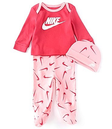 Image of Nike Baby Girls Newborn-9 Months Long-Sleeve Graphic Jersey Tee, Swoosh Footed Pants & Cap Set