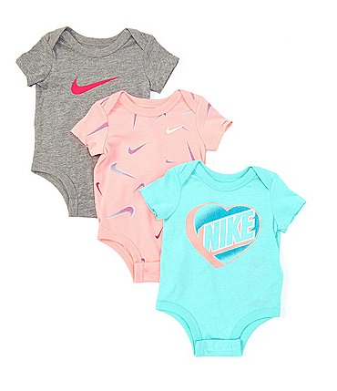 Image of Nike Baby Girls Newborn-9 Months Short-Sleeve 3D Swoosh Three-Pack Bodysuit