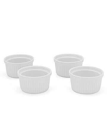 Image of Noble Excellence Le Blanc Porcelain White Ramekins, Set of 4
