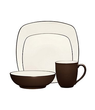 Image of Noritake Colorwave Square Matte & Glossy Stoneware 4-Piece Place Setting