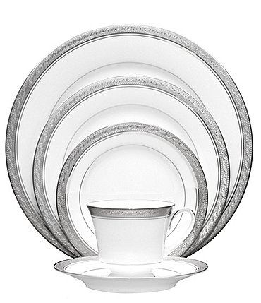Image of Noritake Crestwood Etched Platinum Porcelain 5-Piece Place Setting