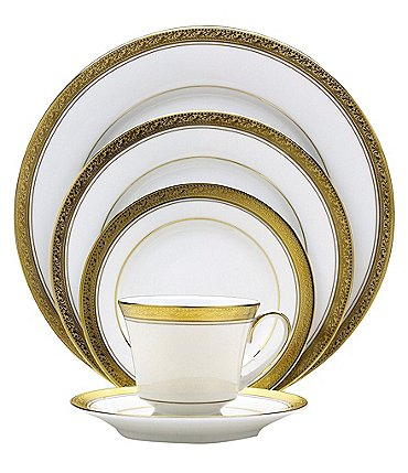 Image of Noritake Crestwood Gold Geometric Scroll Leaf Bone China 5-Piece Place Setting