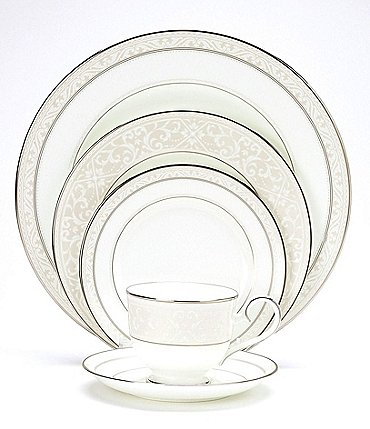 Image of Noritake Montvale Platinum Scroll Bone China 5-Piece Setting
