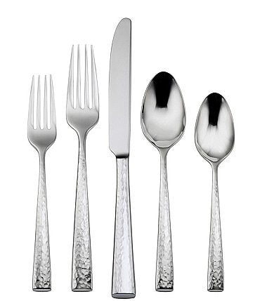 Image of Oneida Cabria Hammered 45-Piece Stainless Steel Flatware Set