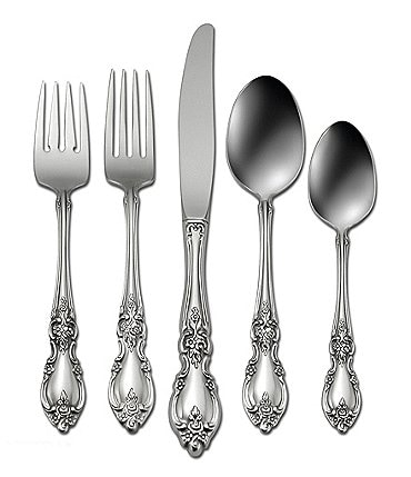 Image of Oneida Louisiana Floral Fiddleback 5-Piece Stainless Steel Flatware