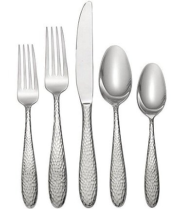 Image of Oneida Reyna Hammered 45-Piece Stainless Steel Flatware Set