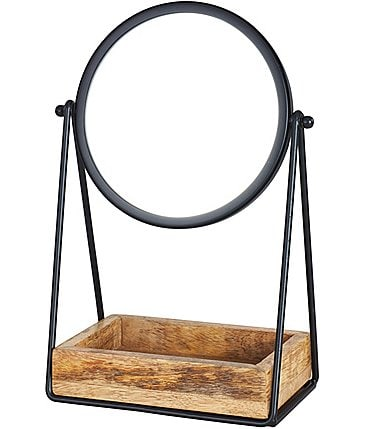 Image of Oscar/Oliver Mason Metal Mirror with Wooden Tray
