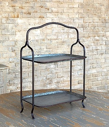 Image of Park Hill Vintage Farmhouse Collection 2 Tier Metal Display Tray