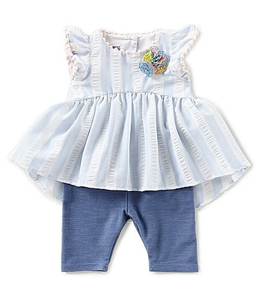 Image of Pastourelle by Pippa & Julie Baby Girls Newborn-24 Months Striped Flower-Applique Top & Leggings Set