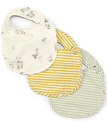 Image of Pehr Baby Newborn-12 Months Just Hatched & Stripes Away 3-Pack Bibs