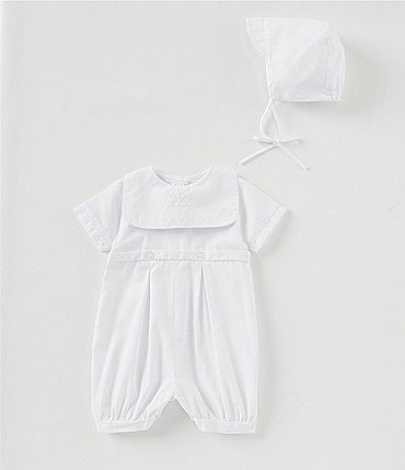 Image of Petit Ami Baby Boys/Girls 3-12 Months Christening Romper & Bonnet Set