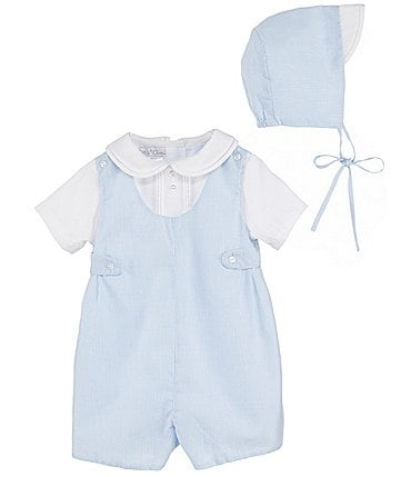 Image of Petit Ami Baby Boys Preemie-9 Months Seersucker Shortall & Hat Set