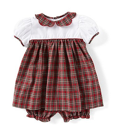 Image of Petit Ami Baby Girls 3-24 Months Christmas Solid/Plaid A-Line Dress