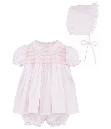 Image of Petit Ami Baby Girls Preemie-Newborn Smocked Dress & Bonnet