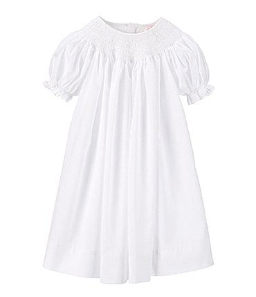 Image of Petit Ami Baby Girls Newborn-9 Months Smocked Christening Gown