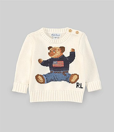 Image of Ralph Lauren Baby Boys 3-24 Months Long-Sleeve Flag Bear Sweater