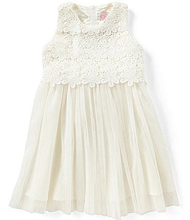 Image of Popatu Baby Girls 12-24 Months Lace/Tulle Tie-Back Dress
