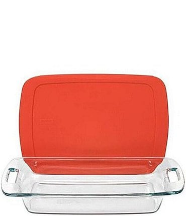 Image of Pyrex Easy Grab 3-Quart Oblong Baking Dish with Red Plastic Cover