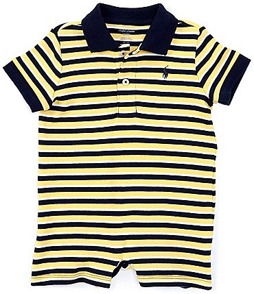 Image of Ralph Lauren Baby Boys 3-24 Months Short-Sleeve Multitrack Stripe Romper