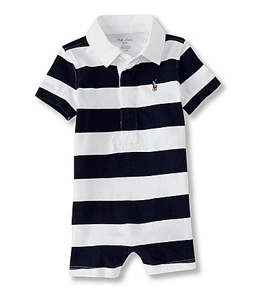Image of Ralph Lauren Baby Boys 3-24 Months Short-Sleeve Bold-Stripe Rugby Shortall