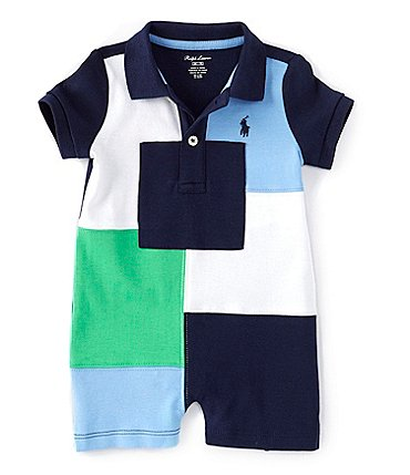 Image of Ralph Lauren Baby Boys 3-24 Months Short-Sleeve Patchwork Polo Shortall