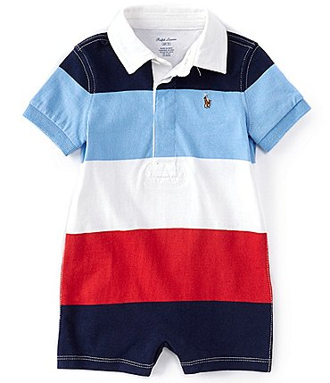 Image of Ralph Lauren Baby Boys 3-24 Months Short-Sleeve Striped Rugby Shortall