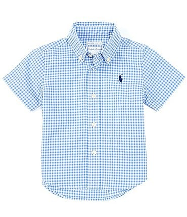 Image of Ralph Lauren Baby Boys 6-24 Months Short-Sleeve Gingham Stretch Poplin Shirt