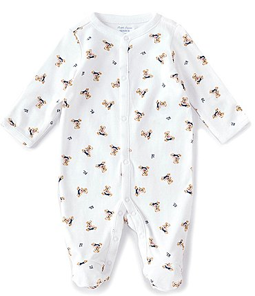 Image of Ralph Lauren Baby Boys Newborn-6 Months Long-Sleeve Polo Bear Footed Coverall