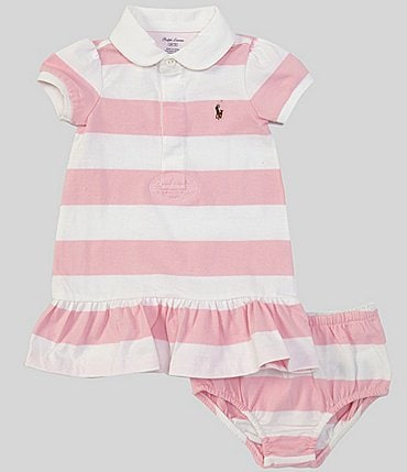 Image of Ralph Lauren Baby Girls 3-24 Months Stripe Rugby Dropwaist Dress