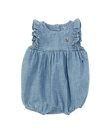 Image of Ralph Lauren Baby Girls Newborn-9 Months Chambray Bubble Shortall