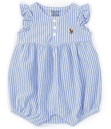 Image of Ralph Lauren Baby Girls Newborn-9 Months Striped Oxford Bubble Shortall