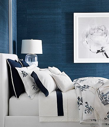 Image of Ralph Lauren Blanc Bleu Collection Fallon Sateen Comforter