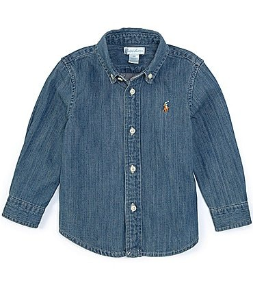 Image of Ralph Lauren Childrenswear Baby Boys 3-24 Months Long-Sleeve Woven Chambray Shirt