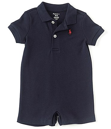 Image of Ralph Lauren Childrenswear Baby Boys 3-24 Months Short-Sleeve Polo Interlock Shortall