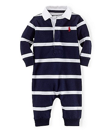Image of Ralph Lauren Baby Boys Newborn-12 Months Rugby-Stripe Coveralls