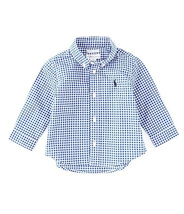 Image of Ralph Lauren Childrenswear Baby Boys 3-24 Months Long-Sleeve Gingham-Checked Poplin Shirt
