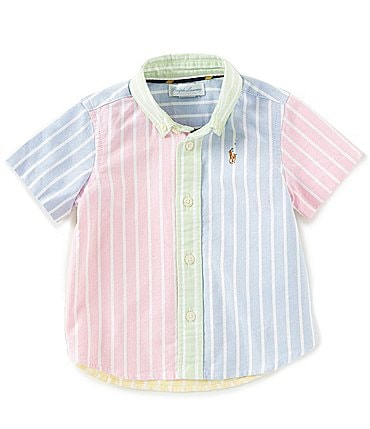 Image of Ralph Lauren Childrenswear Baby Boys 6-24 Months Short-Sleeve Striped Oxford Shirt