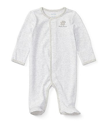 Image of Ralph Lauren Childrenswear Baby Newborn-9 Months Long-Sleeve Striped Footed Coverall