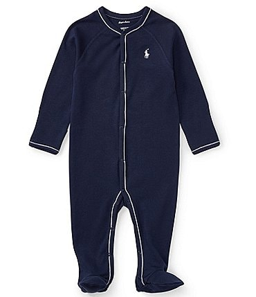 Image of Ralph Lauren Childrenswear Baby Boys Newborn-9 Months Solid Footed Coverall