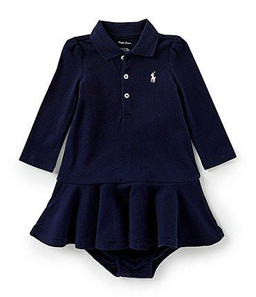 Image of Ralph Lauren Childrenswear Baby Girls 3-24 Months Long-Sleeve Mesh Polo Dress