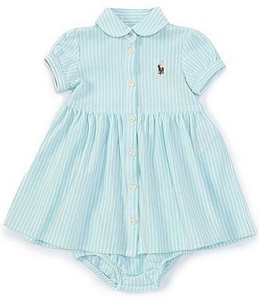 Image of Ralph Lauren Childrenswear Baby Girls 3-24 Months Striped Oxford Fit-And-Flare Dress