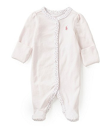 Image of Ralph Lauren Childrenswear Baby Girls Newborn-9 Months Floral-Trim Coverall